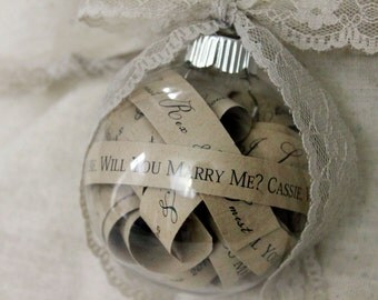 Will You marry me Christmas Ornament Rustic Will You Marry Me Christmas Proposal Ornament Marry Me Scroll Ornament Christmas Proposal Bulb