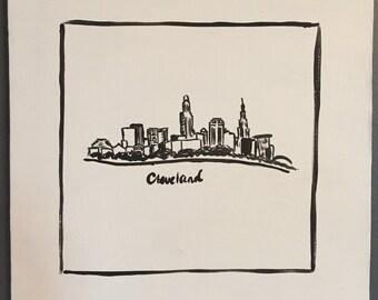 Cleveland Skyline Painting