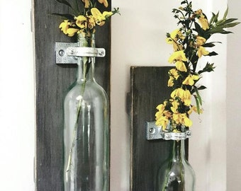 Handmade wine bottle vase sconce