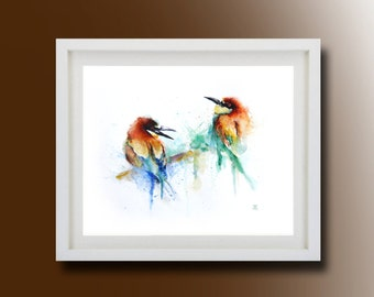 Birds, Painting, Original Watercolor Painting, Color birds, Boba painting