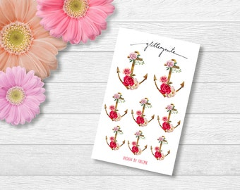 Maritime anchor with roses planner stickers