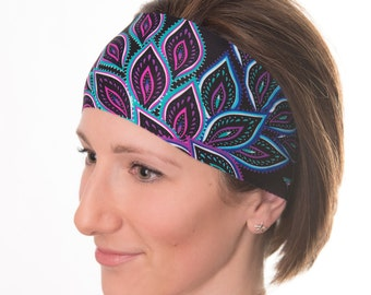 Yoga Headband - Workout Headband - Wide Headband- Head Wrap - Colors: Black, Pink, Blue, Leaves
