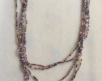 Multi Coloured, Multi Strand Seed Bead Necklace