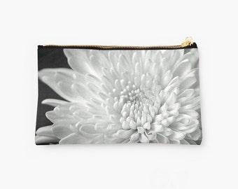 Chic Clutch, Black and White Zip Pouch, Chrysanthemum Photo Accessory, Feminine Gift Idea Zipped Bag, Floral Makeup Bag, Flower Zipper Pouch