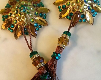 Green gold and brown burlesque pasties nipple tassels