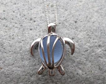 Blue Sea Glass Turtle Locket Necklace
