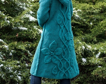 Hand Knit Jade Coat, 100%  Wool  -- Made to Order