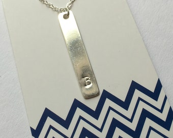 Bar necklace sterling silver hand stamped personalized necklace initial jewelry