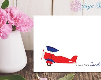 Personalized airplane Stationery / Custom plane Stationery / Custom Stationery Set / Custom airplane notes/ Set of 12 kid note cards