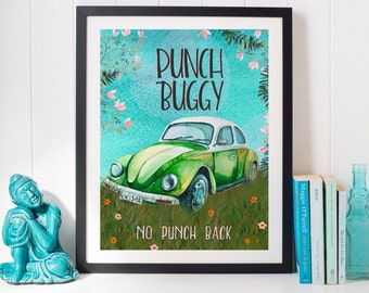 Punch Buggy no punch back VW printable art jpeg download with watercolor vintage car & saying