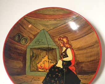 Vintage Norwegian Norge Hand Painted Woman By Fire Wooden Bowl