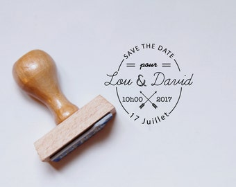 Retro Save The Date rubber stamp
