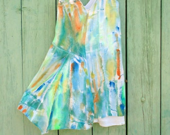 Hand painted Impressionist-inspired patchwork dress girl size 5/6 years