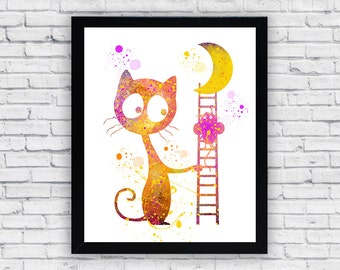 Cat and Mouse Watercolor Printable, Cat and Mouse Printable Wall Art, Cat and Mouse Printable Poster
