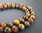 "Natural Multi-Color Tiger Eye Faceted Loose Beads Size:4mm/6mm/8mm/10mm/12mm 15.5"" Long Per Strand.R-F-TIG-0290"