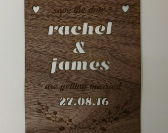 Personalised Save the Date wedding card cut from quality walnut veneer x 5