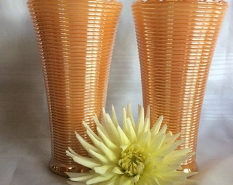 Vintage Anchor Hocking Iridescent ribbed Manhattan pattern flower vase