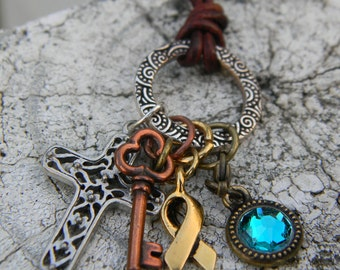 Praying for the key to a cure cancer awareness and support adjustable charm necklace