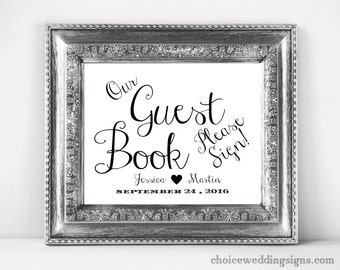 Guest Book Sign | Please Sign Our Guest Book Printable Wedding Sign | Reception Sign | SKU# CWS307_2622C