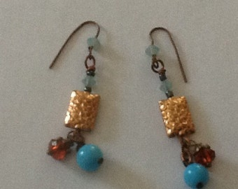 Brass and Vintage Bead Earrings with Crystal