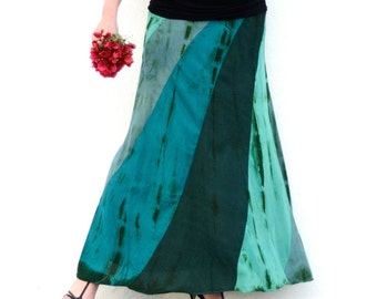 Long Summer Flowing Maxi Skirt turquoise