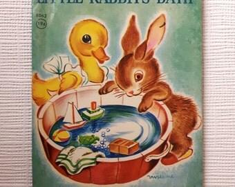 Vintage Rand McNally Junior Elf Book ~ Little Rabbit's Bath by Miriam Clark Potter, illustrated by Vivienne Blake. 19c