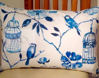 Blue Bird Cages  - Duck Feather Cushion/Pillow  - 60cm x 40cm