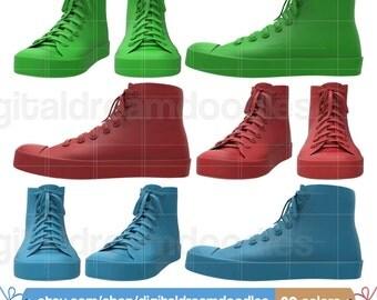 Shoe Clipart, Sneaker Clipart, Tennis Shoe Graphic, Classic Shoe Image, Converse Shoe Picture, Sneaker Scrapbook, Instant Digital Download