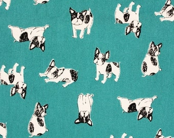 "Boston Terrier Fabric made in Japan, Dog Fabric / Half Yard 45cm by 108cm or 18"" by 43"""