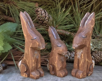 Wood Carved Forest Animals (Rabbit Family)
