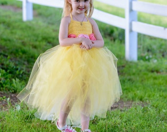 Tutu Dress with Crochet Bodice - Flower Girl's Dress, Tutu, Toddler dress, Baby costume, girl's costume, Formal Dress, Belle Inspired Dress,