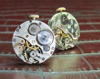 HELVETIA Vintage 15 Jewel Watch Movement Cufflinks