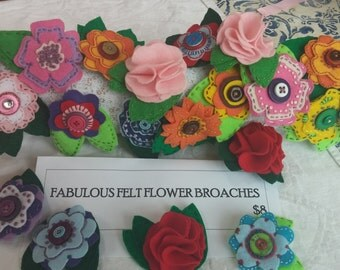 Felt Flower Broaches