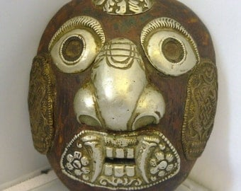 Old Tibetan Ritual Mask Wood  Hand Carved mask with Patterned Overlay metal