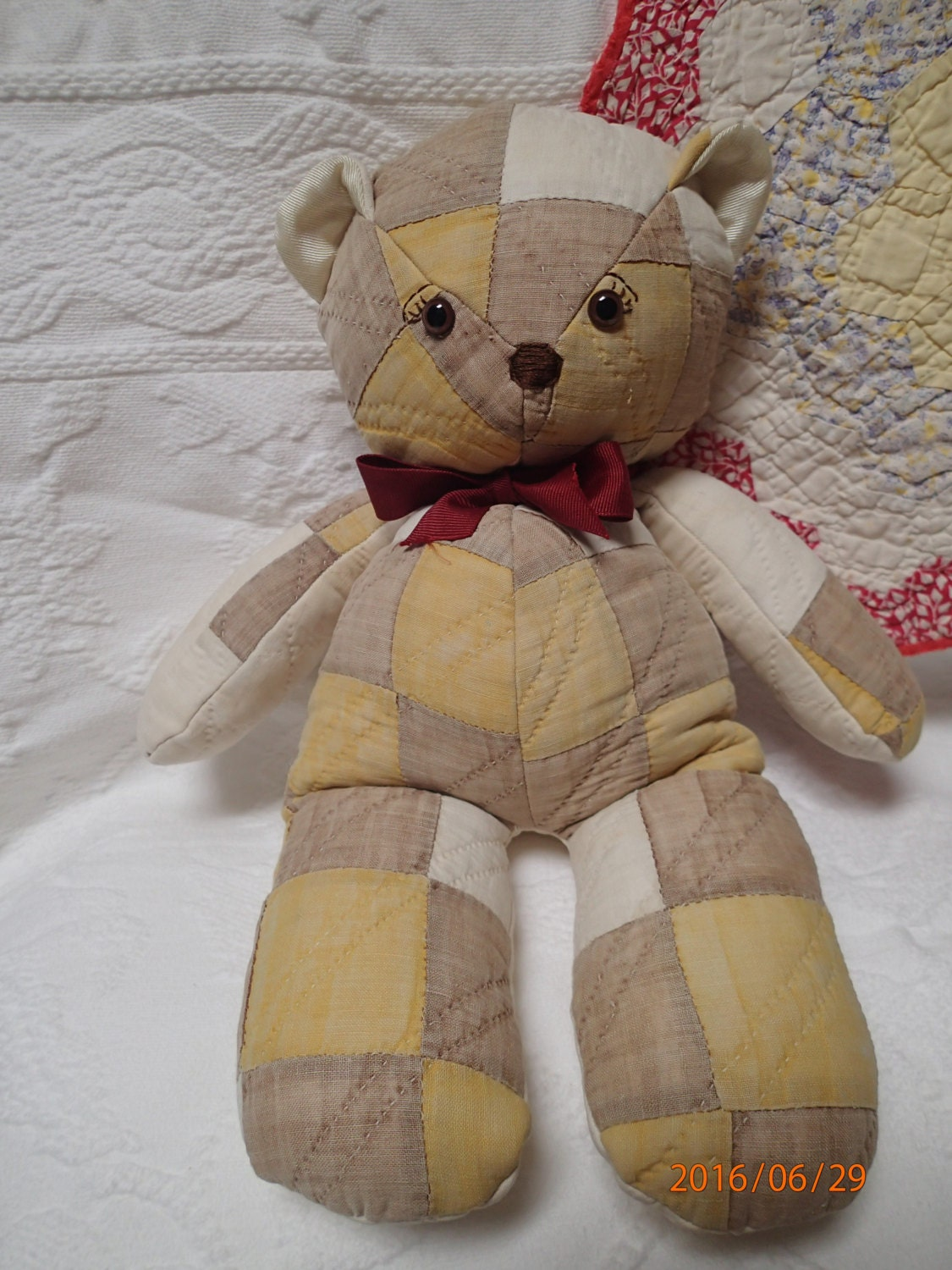 Quilted Teddy Bear Vintage Quilt Primitive Rustic Decor