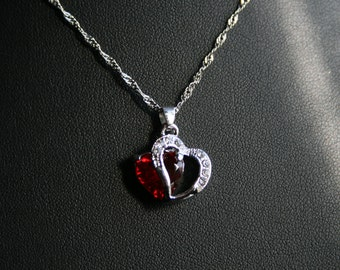 Ruby Red Rhinestone Necklace with Singapore styled link chain.