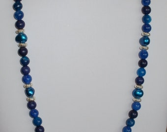 multi blue necklace and earrings