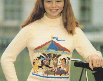 Womens, Mens, Boys and Girls Sweater PDF Knitting Pattern with Carousel Motif : Jumper . 28, 30, 32, 34, 36, 38, 40, 42, 44 inch chest