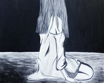Lonely, Dark Art, Emotional, Dark, Art, Pen & Ink,  Drawing, Custom Drawing, Artwork, Dark Drawing, Original art, Ink Drawing, Girl, Darker