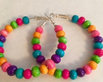 Colorful Assorted Beaded Hoop Earrings