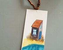Mark-page illustrated handmade house edge sea + wood beads