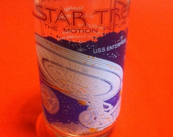 "Vintage, Star Trek,  The Motion Picture Starship, "" U.S.S. ENTERPRISE "" Collectible Glass.The Coca Cola Co. Star Trek Memorabilia."