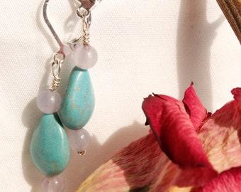Purple Glass and Turquoise and Stone Handmade Bead Earrings