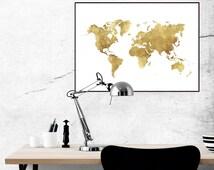 World map gold effect/ printable world map/ golden world map/ Scandinavian decor/ minimalist/ minimal decor/ printable artwork