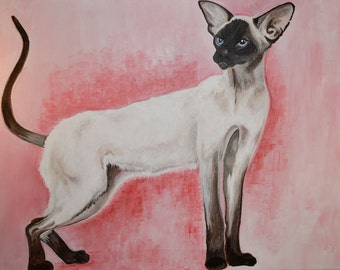 Painting in acrylic on canvas (45cm x 80cm) of a Siamese Cat