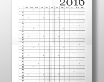 Printable wall calendar for year 2016, Typographic, Print, Minimalistic, A4/A3, INSTANT DIGITAL DOWNLOAD