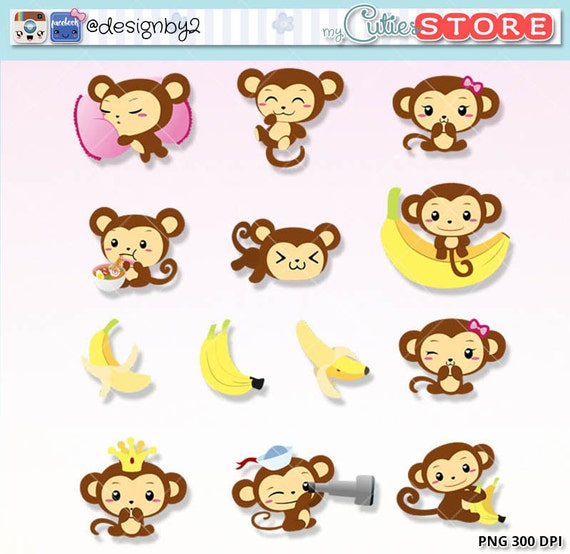 Monkey Kawaii Clipart Printable Planner Stickers by ...