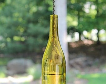 Hanging Wine Bottle Hurricane Lantern Candle Holder - Golden Yellow