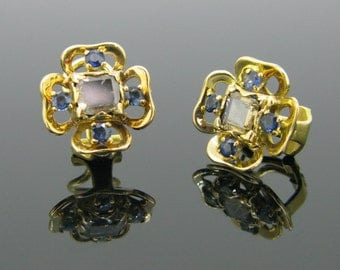 French Shamrock diamonds and sapphires earrings, 18kt gold by Cassagnaud, TOULON (FR)