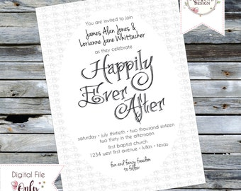 "Wedding Invitation ""Happily Ever After"" Black and White"